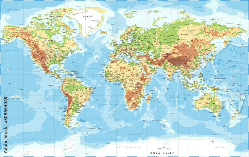 World Map - Physical Topographic - Vector Detailed Illustration <span>plik: #309654049 | autor: Porcupen</span>
