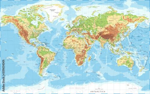 World Map - Physical Topographic - Vector Detailed Illustration Fototapeta