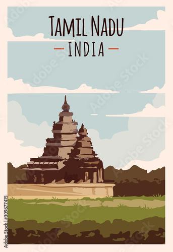 Obraz na plátne Tamil Nadu retro poster