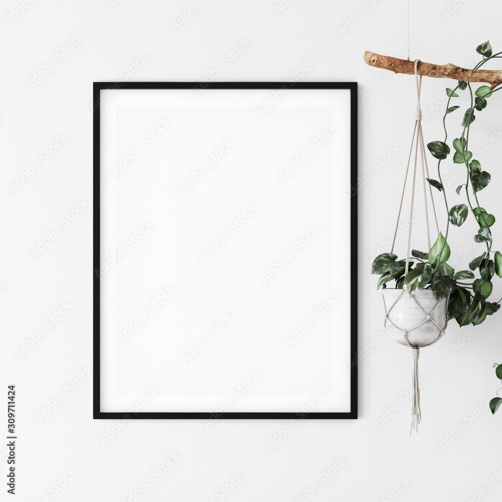 Frame mockup. Coastal Scandinavian interior style. 3d rendering, 3d illustration <span>plik: #309711424   autor: Yuri-U</span>