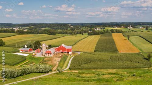 Fotografie, Obraz Traditional American farm, Pennsylvania countryside from the air
