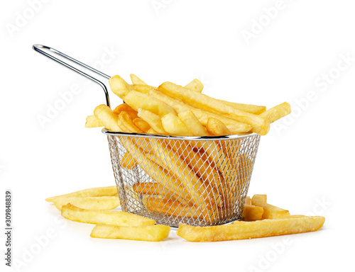 Canvas Print French fries in metal wire basket
