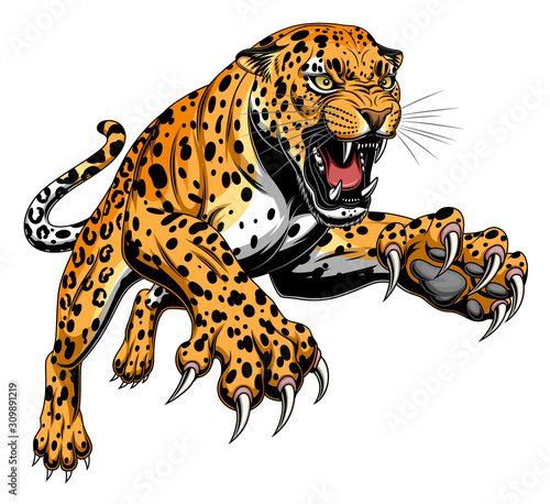 Wallpaper Mural Leaping leopard