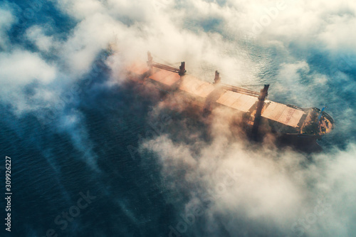 Wallpaper Mural Cargo ship and cranes silhouettes in sea fog, crane vessel working for delivery of delivery containers