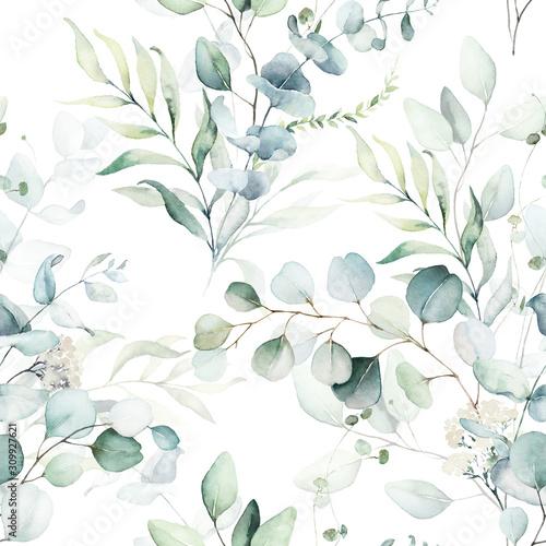 Fototapeta akwarela kwiatowy wzór kompozycja zielonych