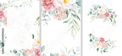 Fotografia, Obraz Pre made templates collection, frame - cards with pink flower bouquets, leaf branches