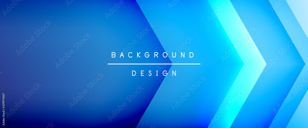 Arrow lines, technology digital template with shadows and lights on gradient background. Trendy simple fluid color gradient abstract background with dynamic straight shadow lines effect <span>plik: #309970667   autor: antishock</span>