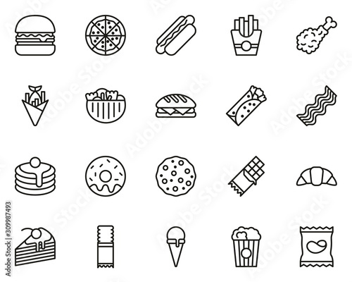 Wallpaper Mural Snack Or Junk Food Icons Thin Line Set Big