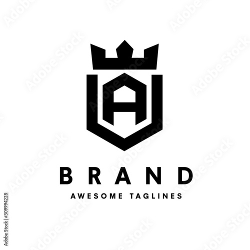 Fotografija strong and simple initial letter a with king crown design vector illustration