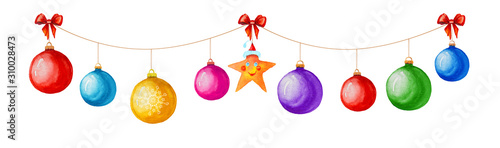 Fotografia, Obraz Christmas garland of colorful balls and icons isolated