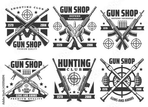 Canvastavla Guns and shotguns shop icons, personal defense ammunition and hunting ammo