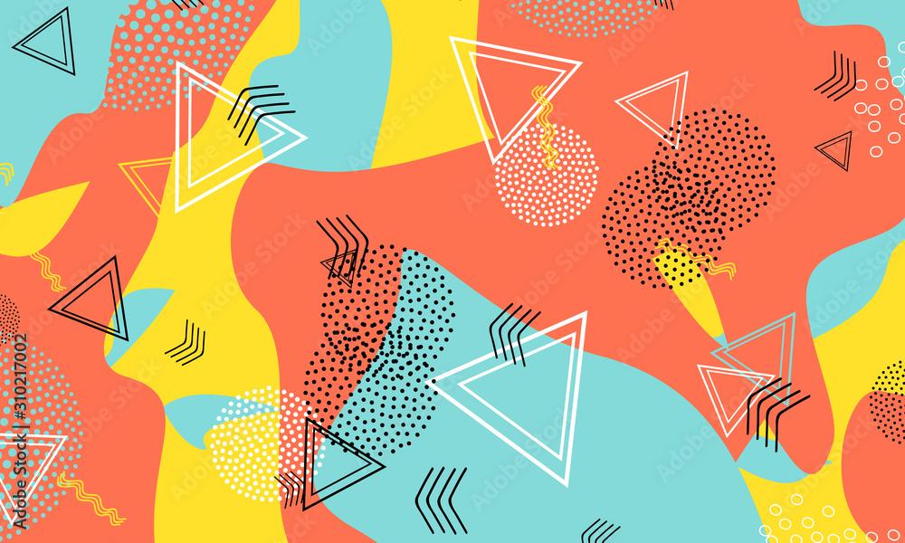 Fluid Coral Illustration. Amber Stripes Texture.