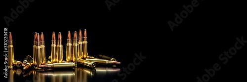 Slika na platnu Bullet isolated on black background with reflexion