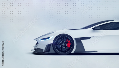 White futuristic sports car front side view (3D illustration)