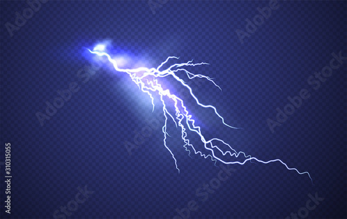 Wallpaper Mural Realistic Lightning effect isolated on clear dark blue background