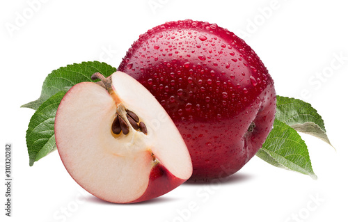 red apple with slice in water drops isolated on a white background Fototapet