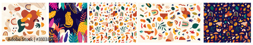 Decorative abstract collection with colorful doodles. Hand-drawn modern illustration