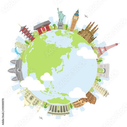 Fototapeta world travel circular vector illustration ( world famous buildings / world herit