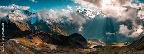 Panoramic Image of Grossglockner Alpine Road. Curvy Winding Road in Alps.