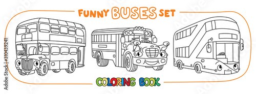 Photo Funny buses with eyes set. Coloring book set