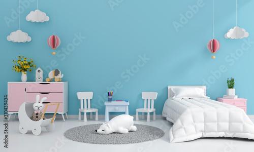 Obraz na płótnie Blue child bedroom interior for mockup, 3D rendering