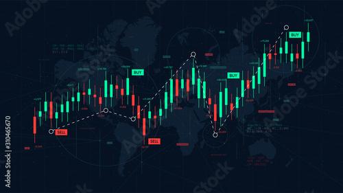 Billede på lærred Dashboard graph of forex statistics, business and financial analytics, profit an