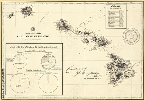 Hawaiian Islands 1896 Antique Restored Reproduction Map