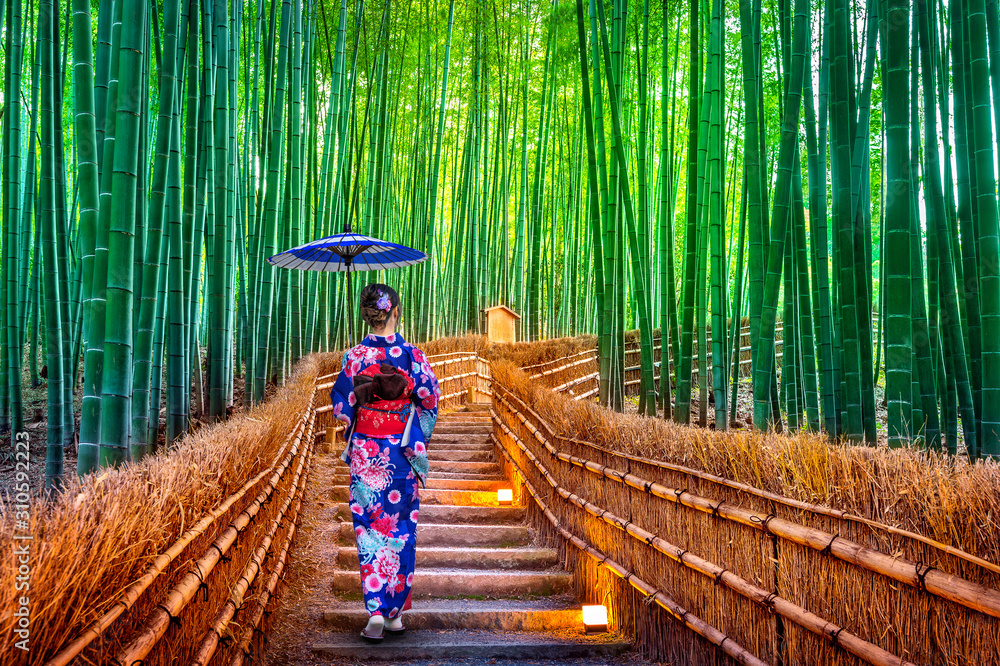Bamboo Forest. Asian woman wearing japanese traditional kimono at Bamboo Forest in Kyoto, Japan. <span>plik: #310592223 | autor: tawatchai1990</span>