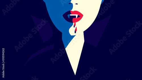 Photo Close up of a vampire woman with fangs and dripping blood