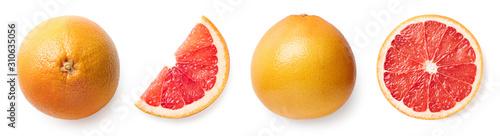 Obraz na płótnie Fresh whole, half and sliced grapefruit