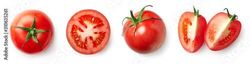 Fotografie, Obraz Fresh whole, half and sliced red tomato