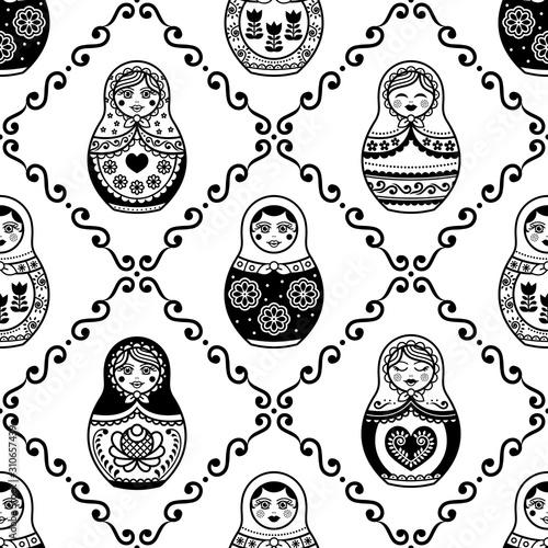 Fototapeta Russian nesting doll vector seamless pattern, repetitive design inpisred by Matr