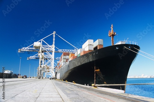 Canvas Print Container ship in docks