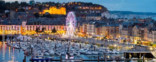 Photo Europe, France, Normandy, Dieppe skyline pano dusk