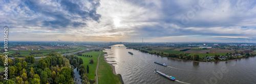 Obraz na płótnie Panoramic view on riverboats on the Rhine