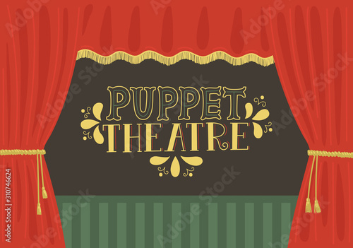 Wallpaper Mural Puppet theatre. Scene with red curtain and lettering.