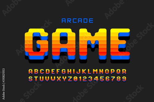 Foto Arcade game style font design, retro 80s video game alphabet, letters and number