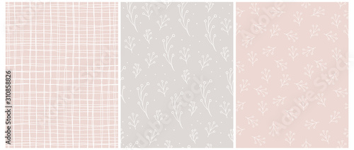 Photo Seamless Vector Patterns with White Irregular Hand Drawn Grid and Abstract Twigs Isolated on a Pastel Pink and Light Warm Gray Background