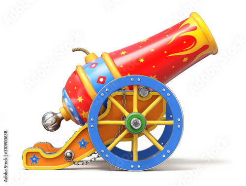 Fotografie, Obraz Colorful circus cannon on white background - 3D illustration