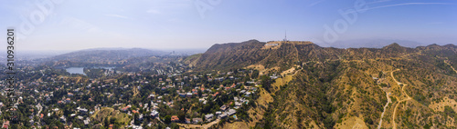 Obraz na płótnie The Hollywood Sign panorama aerial view Griffith Park, Mount Lee, Hollywood Hills in Los Angeles, California CA, USA