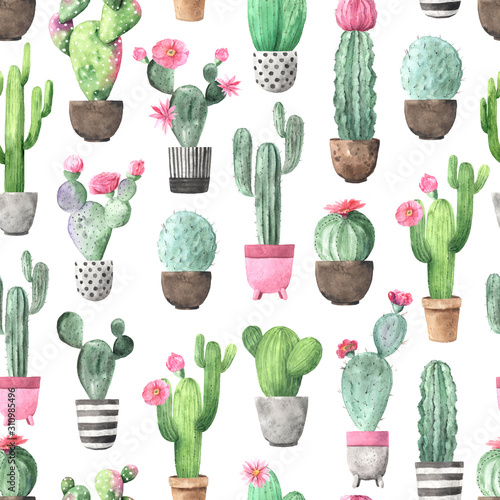 Seamless pattern with watercolor flowering cactus Fototapete