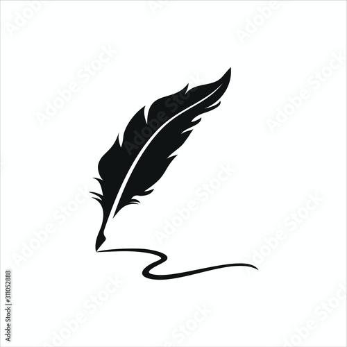 Leinwand Poster feather pen logo silhouette vector design template premium