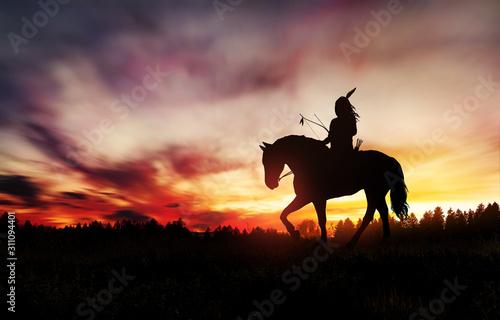 Obraz na plátně Indian of America on horseback at sunset