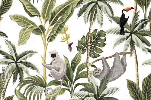 Carta da parati Tropical vintage animals, toucan, palm trees, banana tree floral seamless pattern white background
