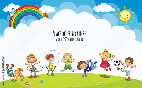 Vector playground with jumping boys and girls. Template for advertising kids brochure. Kindergarten, school children summer, spring vacation.