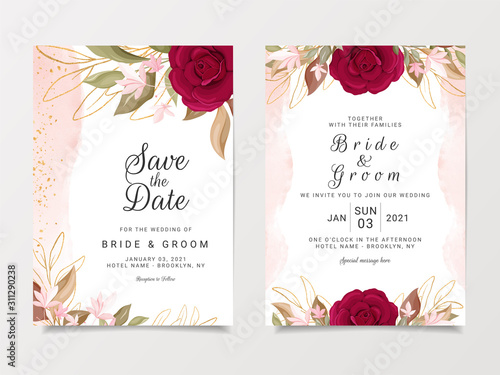 Wedding Invitation Card Template Set With Floral Decoration Red And Peach Roses Flowers Illustration For Save The Date Invitation Greeting Card Poster Vector Stock Vector Adobe Stock