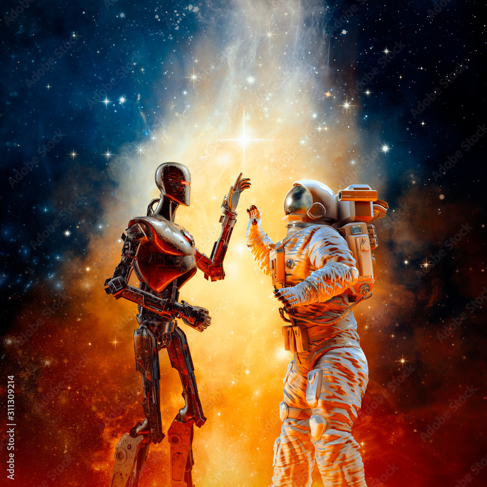 Galactic high five / 3D illustration of science fiction scene with astronaut greeting alien robot in outer space <span>plik: #311309214 | autor: grandeduc</span>