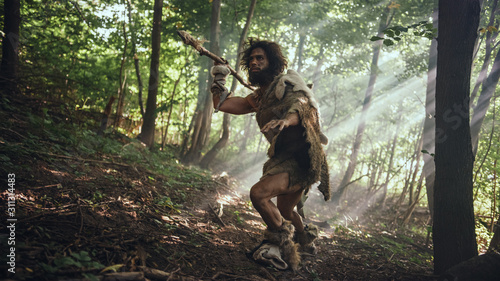 Fotografie, Obraz Primeval Caveman Wearing Animal Skin Holds Stone Tipped Spear Looks Around, Explores Prehistoric Forest in a Hunt for Animal Prey