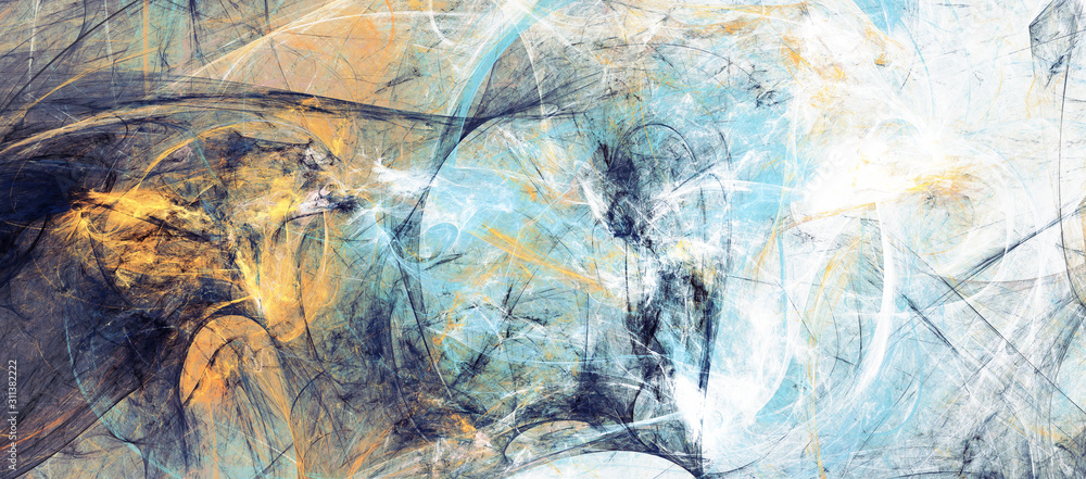 Abstract blue, yellow soft color background. Painting texture. Modern artistic pattern. Fractal artwork for creative graphic design