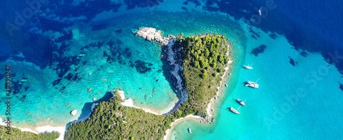 Fotografie, Obraz Aerial drone ultra wide panoramic photo of tropical exotic seascape in Mediterra